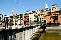 Girona city and the Onyar river. Spain