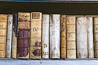 Old historical books in the Strahov Library, Strahov Abbey, Prague, Bohemia, Czech Republic