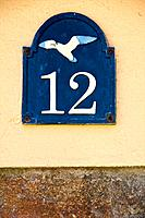 House number with sea gull, Saint Goustan harbour, AURAY, Brittany, France