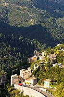 Town gate and buildings of the mountain village of Brantes, Provence, France, Europe