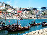 Old city and the banks of the Douro river in Porto