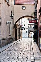 Typical alley on Old Town Square in Prague, Bohemia, Czech Republic