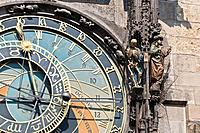 Detail of the Prague Astronomical Clock, Tower of the Old Town Hall, Old Town Square, Prague, Bohemia, Czech Republic