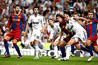 Group of players looking at the ball after a free kick, UEFA Champions League Semifinals game between Real Madrid and FC Barcelona, Bernabeu Stadiumn,...