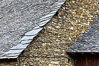 Slate roof in a house typical of Durro - Boi - Vall de Boi - Pyrenees - Lleida Province - Catalonia - Cataluña - Catalunya - Spain