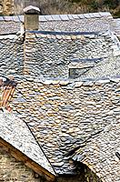 Slate roof in a house typical of Taull - Boi - Vall de Boi - Pyrenees - Lleida Province - Catalonia - Cataluña - Catalunya - Spain