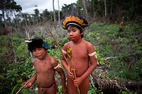 Xingu indians hunting in the Amazone, Brazil