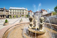 Fountain at the Chrobry Square, Bielsko-Biala, Poland, Europe