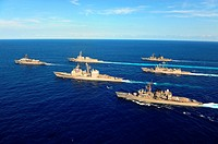ATLANTIC OCEAN July 31, 2011 Ships assigned to the Japan Maritime Self-Defense Force and the U S  Navy participate in maneuvering drills as part of a ...