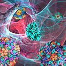 Viral infection, conceptual computer artwork.