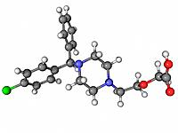 Cetirizine antihistamine, molecular model. Atoms are represented as spheres and are colour_coded, carbon grey, hydrogen white, nitrogen blue, oxygen r...