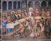 Italy - Veneto Region - Padua - Cathedral - Baptistry - Stories from the New Testament by Giusto de Menabuoi - The Wedding at Cana - Fresco detail (14...
