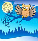 Cute flying owl in snowy landscape _ color illustration.