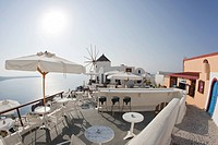 outside view of restaurant in Santorini, Oia, Cyclades Islands, Cyclades Prefecture, Greece, Europe