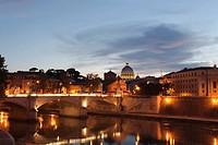 Rome illuminated dusk over River Tiber St Peters Vatican Italy, Lazio, Rome, Italy, Europe