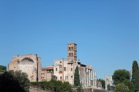 exterior view of Foro Romano under blue sky, Celio, Lazio, Italy, Europe