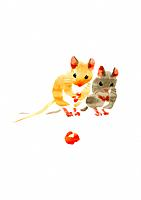 Illustration of two mice looking at cherry, white background