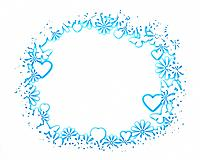 Circle of Hearts and Flowers on a White Background