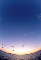 Sunset over sea. Hokkaido, Japan