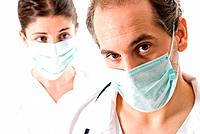 Adult doctor and young nurse with mask on white background