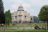Trees in front of a government building, Vidhana Soudha, Bangalore, Karnataka, India