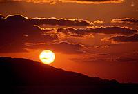 Vibrant sunset over hill. Fukuoka Prefecture, Japan