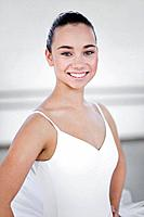 Ballet dancer smiling in studio