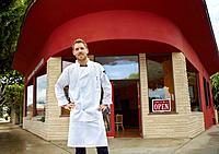 Portrait of chef outside restaurant