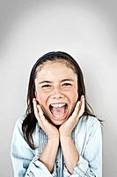 Portrait of screaming girl 10_12, studio shot