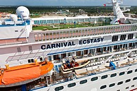 Carnival cruise ship Extasy at port in Cozumel, Mexico in the Caribbean Sea