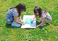 Sisters drawing picture