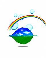 Rainbow and leaf with image of sky, computer graphic, white background