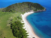 Beach and headland on the remote western coast of Badu Island, Torres Strait, Queensland, Australia