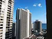 High-density hotels of Waikiki Beach, Honolulu, Hawaii, USA  No PR