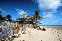 Beach shacks on Masig Island aka Yorke Island, Torres Strait, Queensland, Australia  No PR