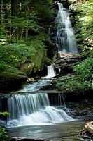 Multiple waterfalls snake through the landscape at Rickett´s Glen State Park, Pennsylvania, USA