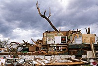 The exposed kitchen of a destroyed home after a tornado in Joplin, Missouri, May 25, 2011  On May 22, 2011, Joplin Missouri was devastated by an EF-5 ...