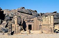 Lake Nasser. Kalabsha temple. Archeological site. Door. Columns. Rocks/ boulders.