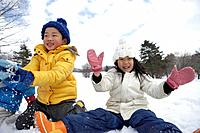Kids smiling in snow