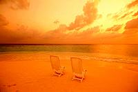 Two Beach Chairs on Beach