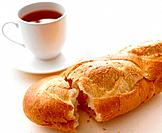 Baguette and cup of tea