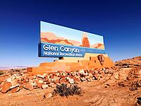 Landscape of Glen Canyon National Recreation entrance sign in Arizona, United States.