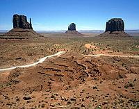 A valley of rock buttes and eroded sandstone pillars. A national park.