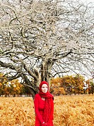 A woman wearing a bright red dress and scarf standing under a leafless tree in nature
