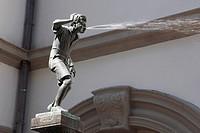 D-Koblenz, Rhine, Moselle, Maifeld, Eifel, Hunsrueck, Westerwald, Rhineland-Palatinate, old city, Schaengel spring by Carl Burger in the city hall cou...