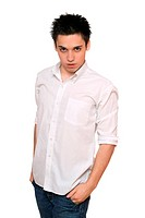 Portrait of young man in a white shirt. Isolated