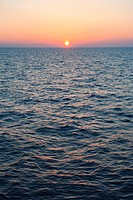 Aegean Sea horizon at sunset