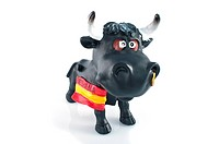 Angry bull on white background