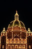 Victoria. Parliament buildings dome. Illuminated at night.
