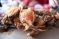 Cooked craps dusted with seasoning are piled up on a table.